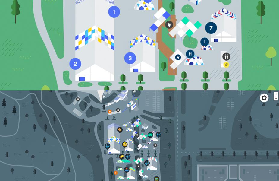מפת המתחם נראית כמו משחק כייפי ואפילו קיבלה שתי גירסאות המציגות את ארועי היום והלילה